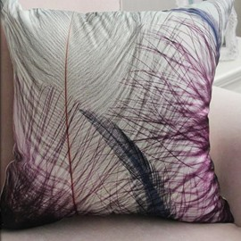 New Arrival Modern Style Lovely Purple Feathers Print Throw Pillow