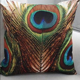 Beautiful Brown and Green Peacock Feathers Print Throw Pillow