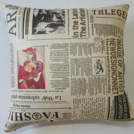 European Style Antique Newspaper Print Throw Pillow