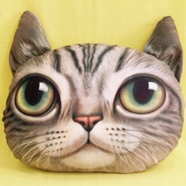 New Arrival Lovely Gray Kitty Eyes Wide Open Print Throw Pillow
