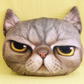 Vivid Gray Cat with Glaring Eyes Print Throw Pillow