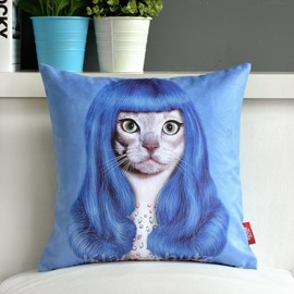 Fancy Lovely Catoon Cat with Long Hair Print Throw Pillow