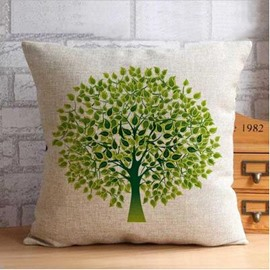 Fantastic Green Tree Pattern Throw Pillow