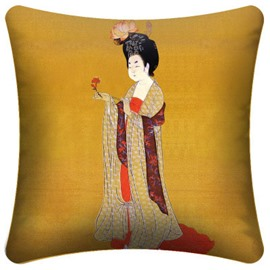 High Quality Palace Lady Carrying Flowers Pattern Throw Pillow