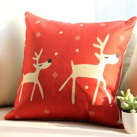 Christmas Gift Little White Deer and Snowflake Pattern Throw Pillow
