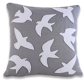 Free Flying Swallow Pattern Gray Background Pattern Throw Pillow
