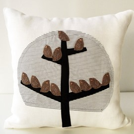 Creative Chocolate Color Birds over Branches Pattern Throw Pillow