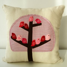 Warm Style Pink and Red Birds Pattern Throw Pillow