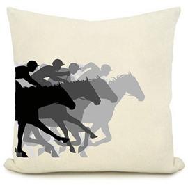 Superimpose Effect Horse Racing Pattern Throw Pillow