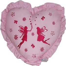 The Romantic Heart Shape Angel Printed Embroider Throw Pillow