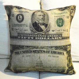 Creative American Dollar Style Linen Throw Pillow
