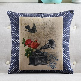 Gramophone Printed Retro Style Throw Pillow