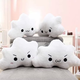 Cute Cloud Shape Expression Design Cotton 4-Piece Throw Pillows