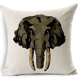 European Style Elephant Print Cotton Linen Throw Pillow