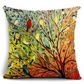 Oil Painting Hundreds of Birds Cotton Linen Throw Pillow