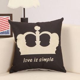 Noble Crown Print Coll Black Decorative Throw Pillow