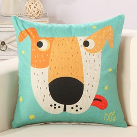 Cartoon Dog Print Super Comfy Cotton Linen Throw Pillow