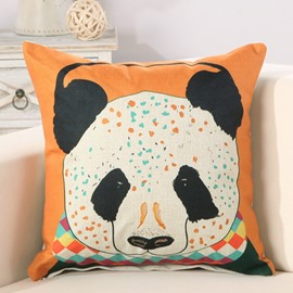 Panda Print Soft Cotton Linen Orange Throw Pillow