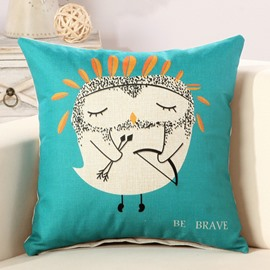 Cartoon Owl Refreshing Fluffy Blue Throw Pillow