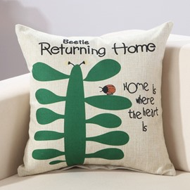 Fresh Ladybird & Letter Print Cotton & Linen Decorative Throw Pillow