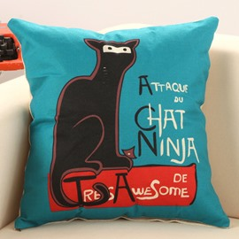 Cat Sat on The Bench Print Decorative Throw Pillow