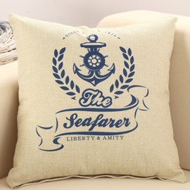 Set Sail Mediterranean Style Cotton Linen Throw Pillow