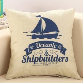 Blue Sailing Boat Print Mediterranean Style Decorative Throw Pillow