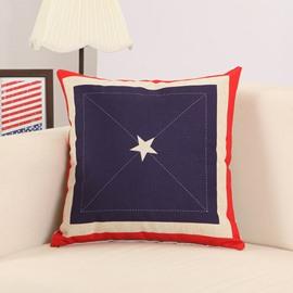 Simple Star Print Soft Cotton Linen Throw Pillow