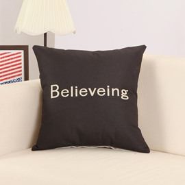 Believing Print Cool Black Cotton Linen Throw Pillow