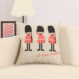 Cartoon Imperial Guard Print Cotton Linen Throw Pillow