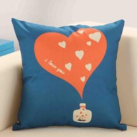 Red Heart Print Blue Decorative Throw Pillow