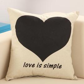 Stylish Black Love Print Cotton & Linen Throw Pillow