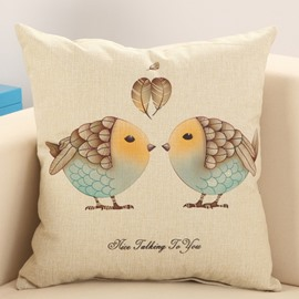 Cute Kissing Couple Birds Print Cotton Linen Throw Pillow