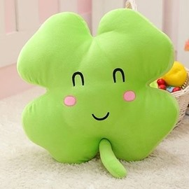 Lovely Smile Face Print Green Four Leaf Clover Shape Plush Throw Pillow