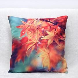 Graceful Maple Leaves Print Plush Throw Pillow