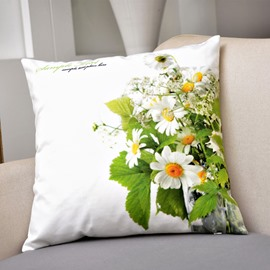 Pastoral White Daisy Print Fluffy Throw Pillow