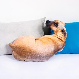 Funny Lifelike Puppy Shape Design Throw Pillow