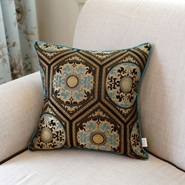 European Style Elegant Pattern Embroidery Blue Polyester Throw Pillow
