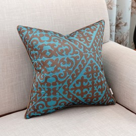 Noble Esthetical Pattern Embroidery Blue Polyester Throw Pillow