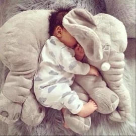 Beddinginn Large Long Nose Elephant Gray Soft Plush Sleep Baby Pillow
