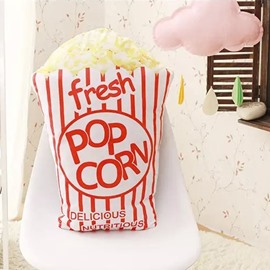 Yummy Popcorn Design PP Cotton Throw Pillow