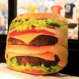Unique Delicious Hamburger Design Plush Throw Pillow