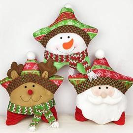 Festive Christmas Santa Claus and Reindeer Throw Pillow