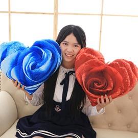 Creative 3D Rose Print Heart Shape Throw Pillow