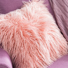 Solid Color Fluffy and Comfy Long Plush Square Decorative Throw Pillow
