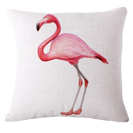 Stylish Pink Flamingo 3D Printed White Throw Pillow