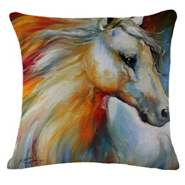 Modern Style Horse Print Square Throw Pillow