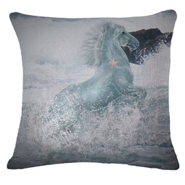 Amazing Wild Horse in Water Print Throw Pillow