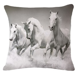 3D Three White Horses Printed Throw Pillow