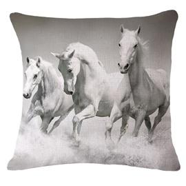 3D Three White Horses Printed Throw Pillow